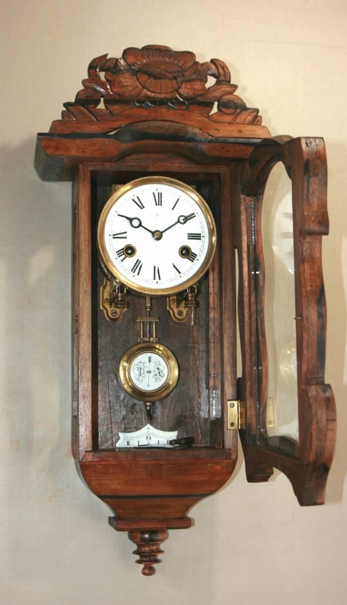 OH済み:黒柿製小型バイオリン型の柱時計・古時計_画像7