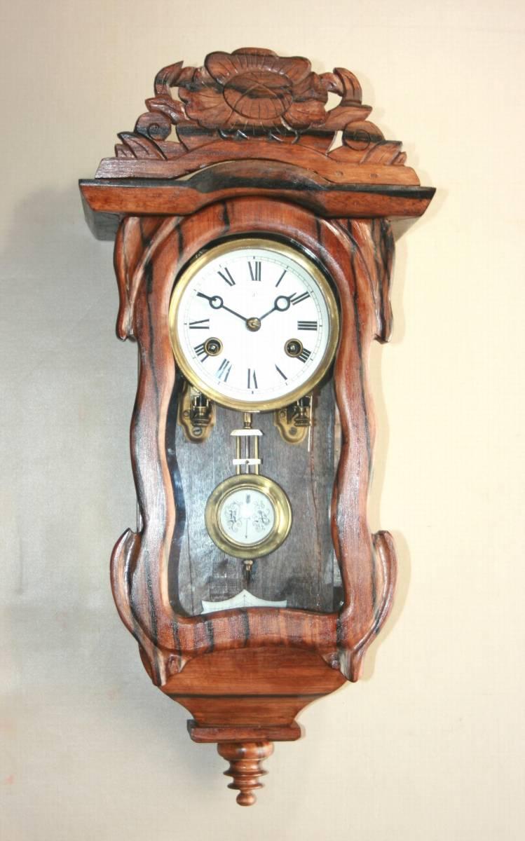 OH済み:黒柿製小型バイオリン型の柱時計・古時計_画像1