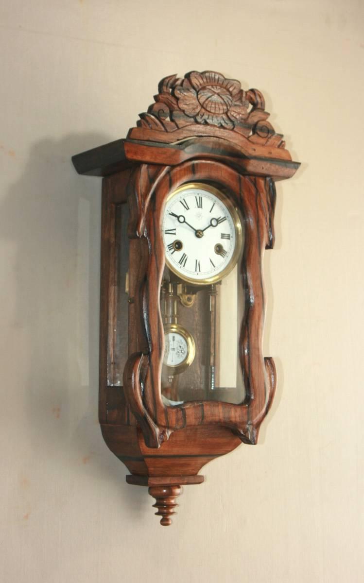 OH済み:黒柿製小型バイオリン型の柱時計・古時計_画像2