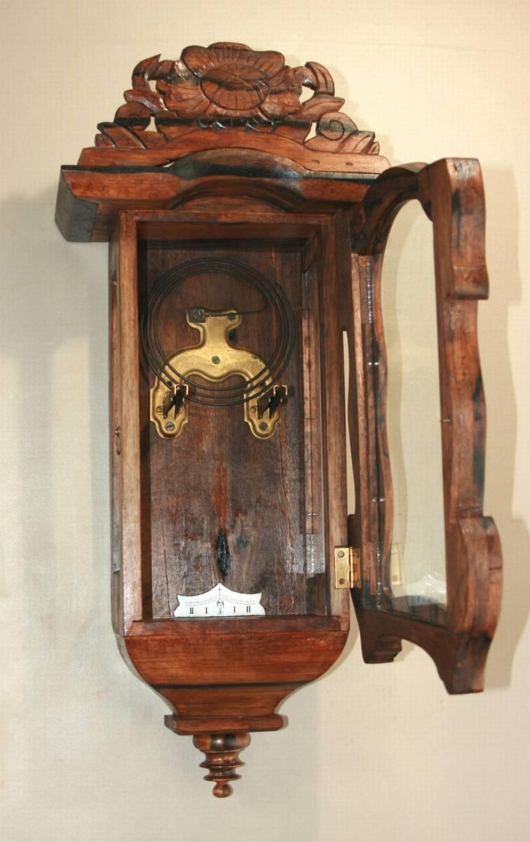 OH済み:黒柿製小型バイオリン型の柱時計・古時計_画像9