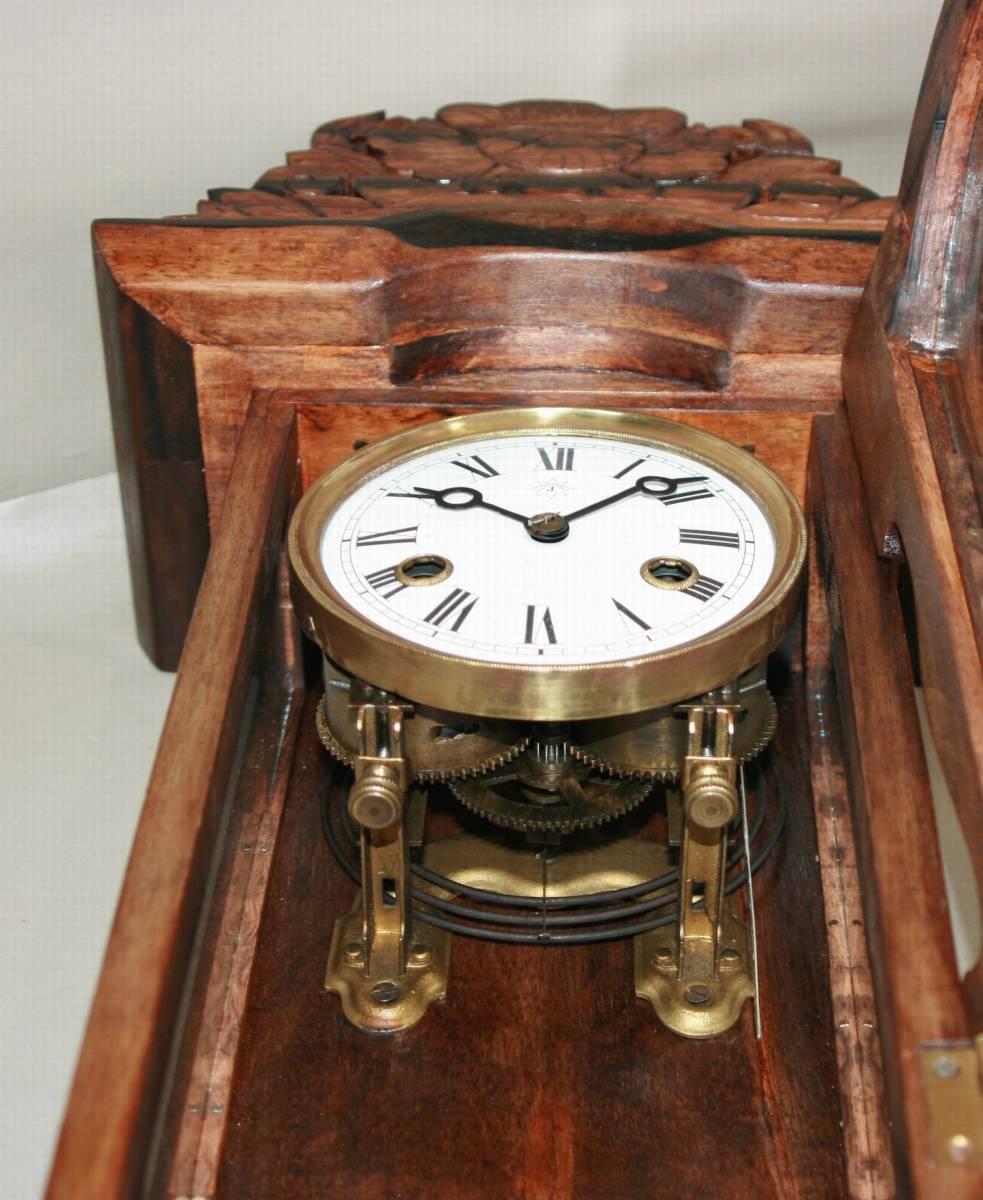 OH済み:黒柿製小型バイオリン型の柱時計・古時計_画像8