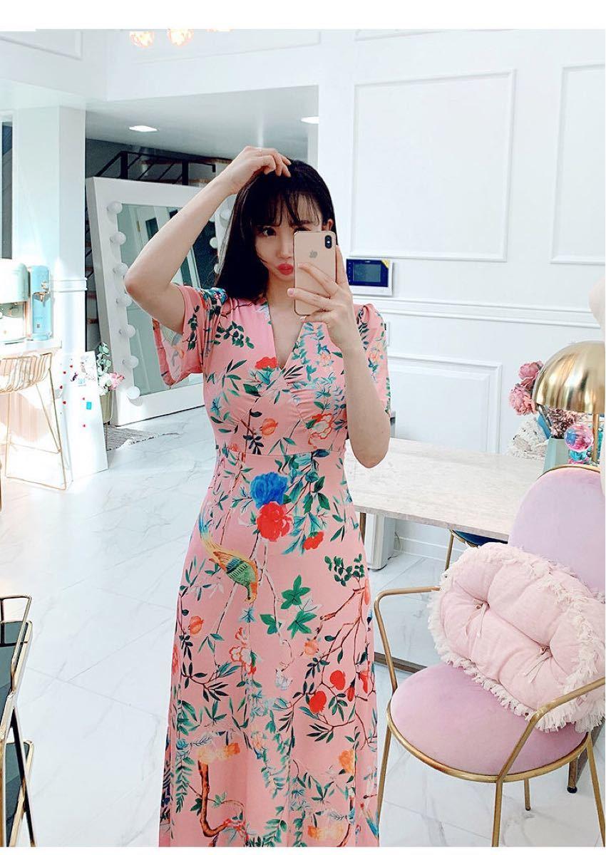 花柄ワンピース aラインワンピース   ロングワンピース  姫系 セクシー