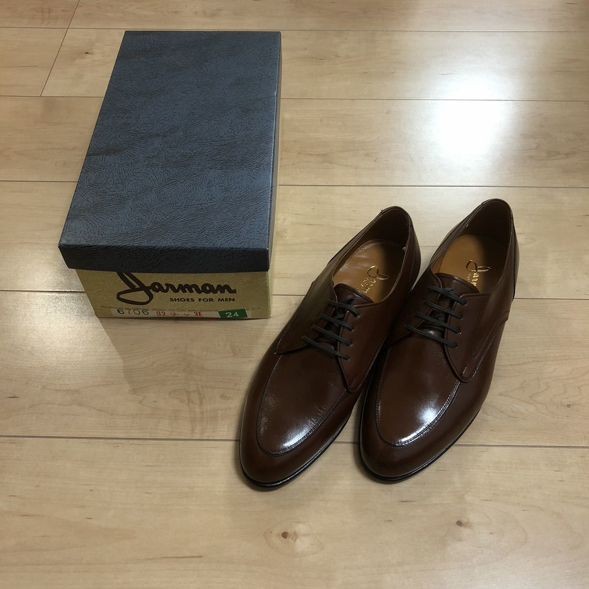 【デッドストック】ビンテージ 箱付き JARMAN ジャーマン Uチップシューズ 革靴 レザー シューズ