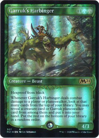 え緑Foil ガラクの先触れ 1枚(4枚在庫s 英 良品 M21Showcase)/Garruk's Harbinger(MTG /基本セット2021/Core Set 2021 拡張アート/)_画像1