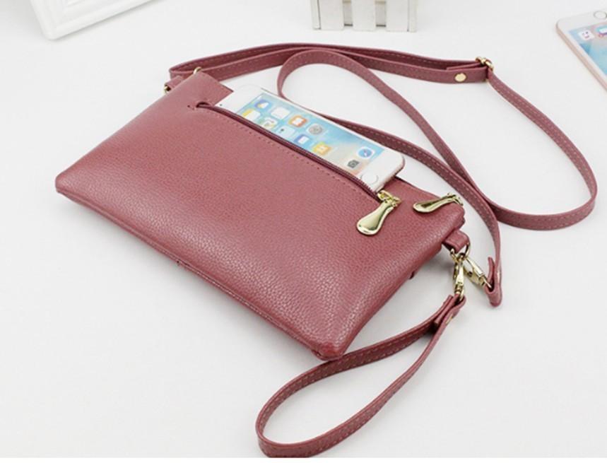 ショルダーバッグ スマホポーチ 財布ポシェット コンパクト 濃いピンク