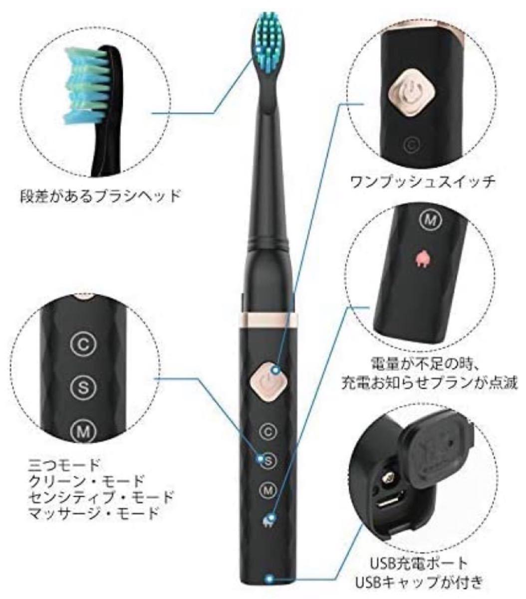 電動歯ブラシ 音波 3モード 2分オートタイマー USB充電 替えブラシ2本