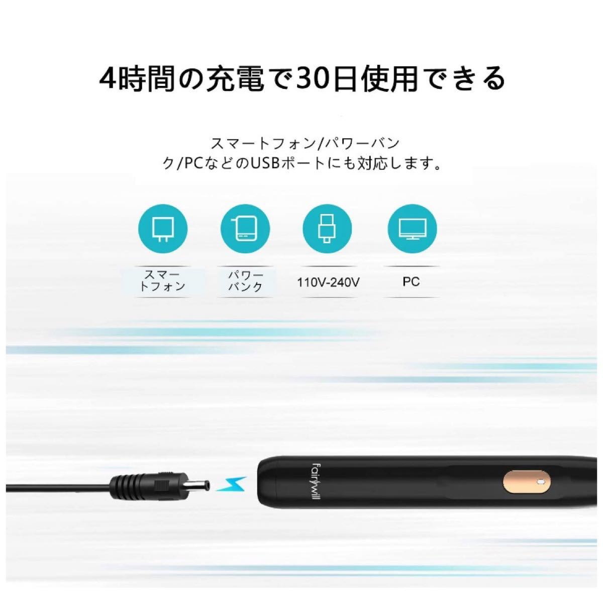 電動歯ブラシ 音波 4モード 2分オートタイマー USB充電 替えブラシ2本