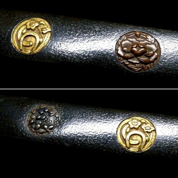 【刀装具 #1065】 水戸系統の生まれ良き優品です! 丸草花図 赤銅地 象嵌 小柄 【検:刀剣/拵え】_画像4