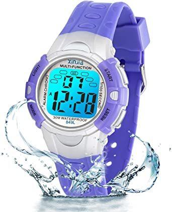 パープル849 PROKINGデジタル腕時計 時計 子供 キッズ 多機能 LEDライト ボーイズ 男の子 アラーム付き 目覚まし_画像5