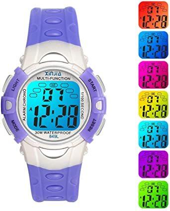 パープル849 PROKINGデジタル腕時計 時計 子供 キッズ 多機能 LEDライト ボーイズ 男の子 アラーム付き 目覚まし_画像6