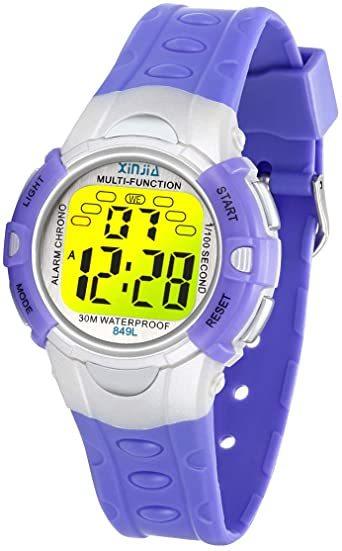パープル849 PROKINGデジタル腕時計 時計 子供 キッズ 多機能 LEDライト ボーイズ 男の子 アラーム付き 目覚まし_画像1