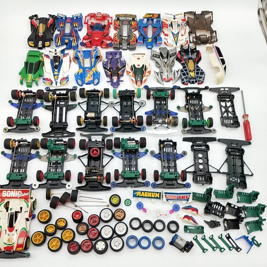 W14【1円スタート】 ミニ四駆 パーツ 部品 まとめ 大量 モーター タイヤ シャーシ 車体 おもちゃ toy 玩具 ジャンク