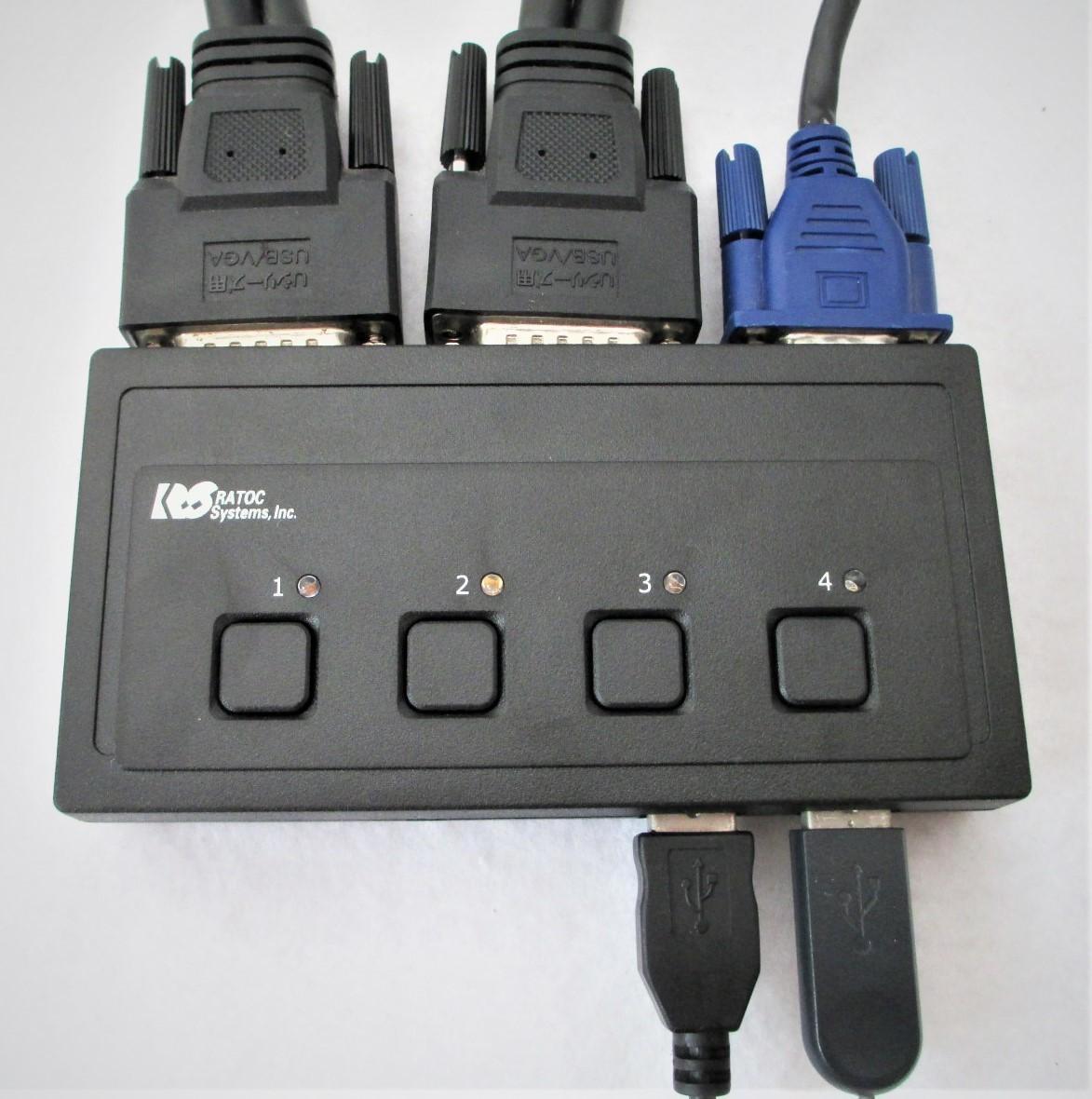 【RATOC】REX-430U 4台用パソコン自動切替器(USB接続) =元箱入り_天板と接続ケーブル