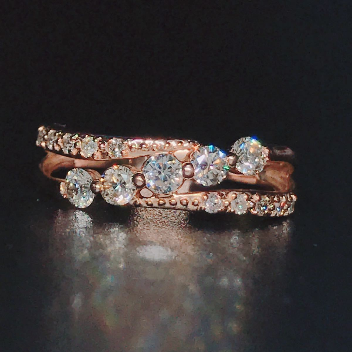 0.50ct ダイヤモンドリング K18 ダイヤ ウェーブ ミル打ち 上品 幅広_画像2