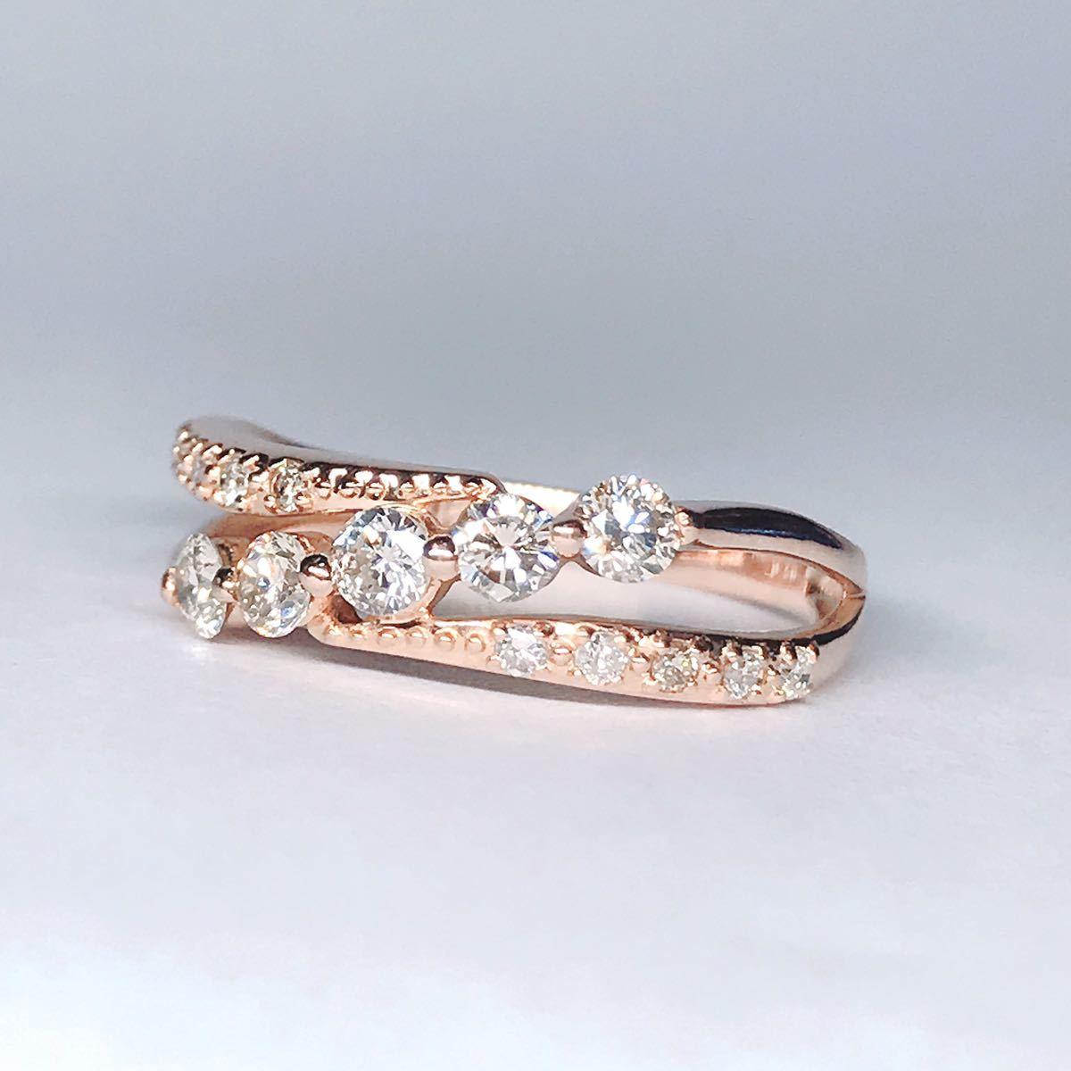 0.50ct ダイヤモンドリング K18 ダイヤ ウェーブ ミル打ち 上品 幅広_画像3