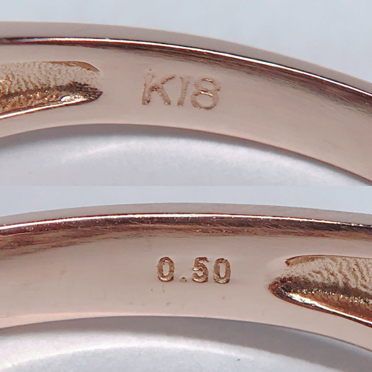 0.50ct ダイヤモンドリング K18 ダイヤ ウェーブ ミル打ち 上品 幅広_画像5