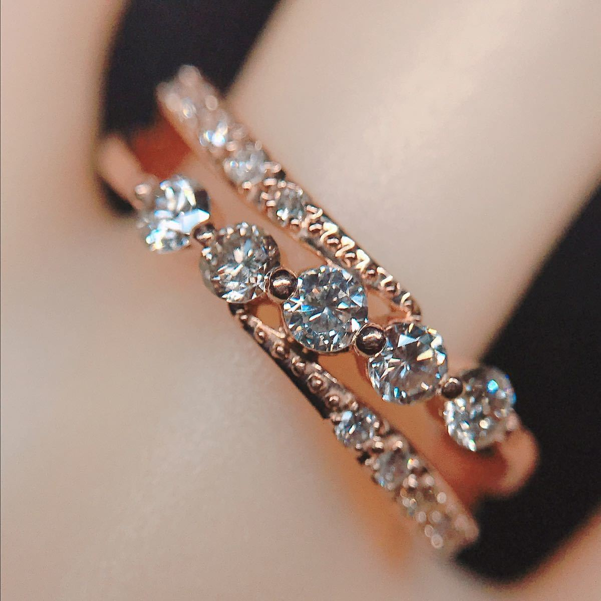 0.50ct ダイヤモンドリング K18 ダイヤ ウェーブ ミル打ち 上品 幅広_画像9