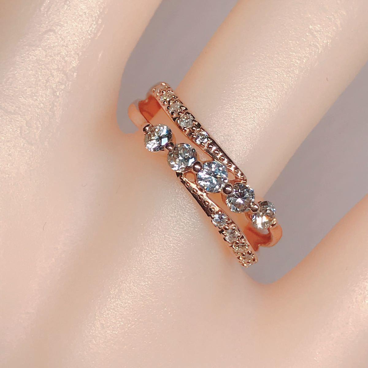 0.50ct ダイヤモンドリング K18 ダイヤ ウェーブ ミル打ち 上品 幅広_画像8