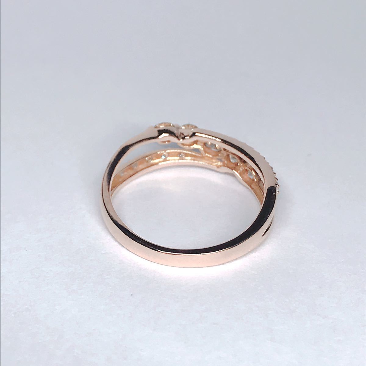 0.50ct ダイヤモンドリング K18 ダイヤ ウェーブ ミル打ち 上品 幅広_画像4
