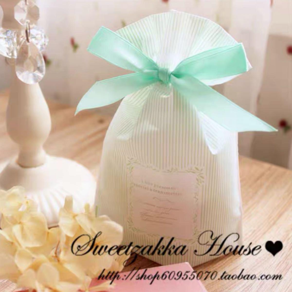 ラッピング袋 リボン ギフト 包装 プレゼント用 グリーン(大)
