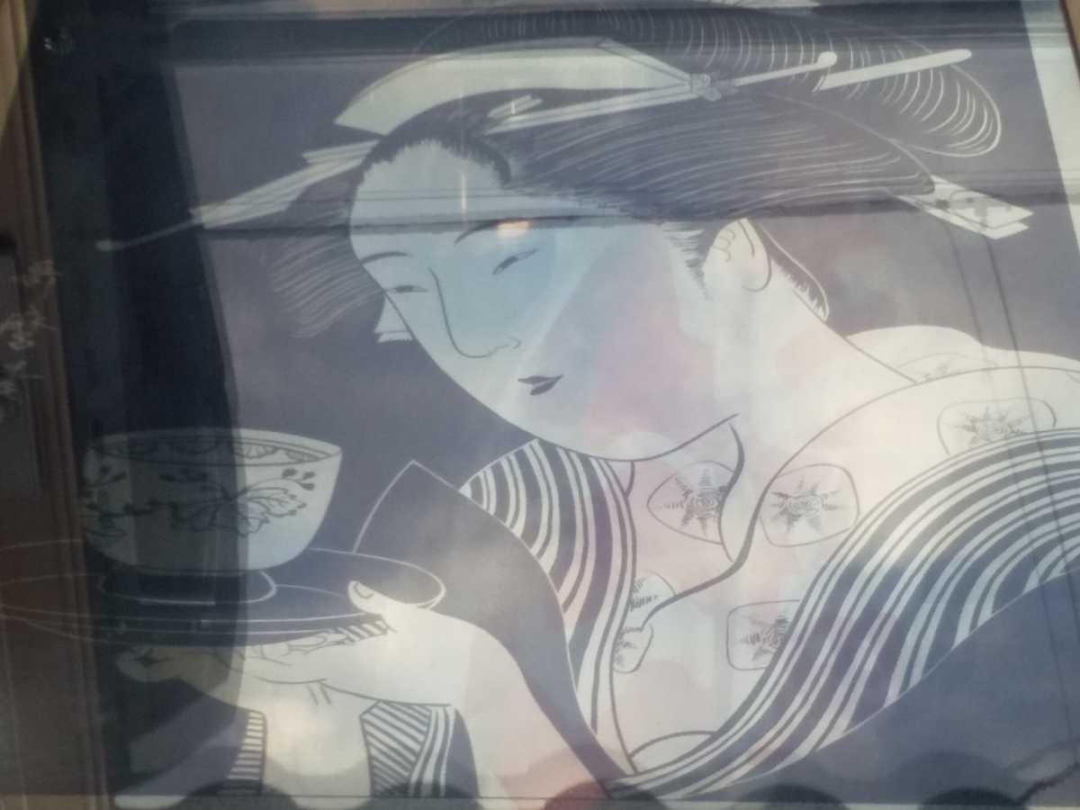 レトロ 歌麿 パブミラー アンティーク 鏡 美人画 浮世絵 アルテトラ製_画像2
