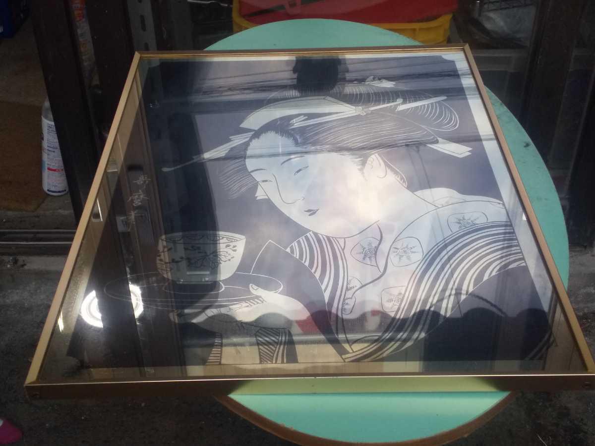 レトロ 歌麿 パブミラー アンティーク 鏡 美人画 浮世絵 アルテトラ製_画像1