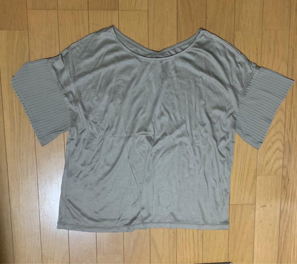 Tシャツ カットソー 袖プリーツ
