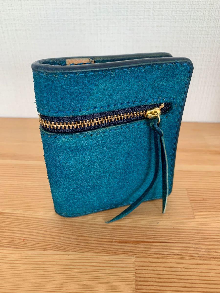 姫路レザー 床革 Bi-fold wallet レザークラフト  青