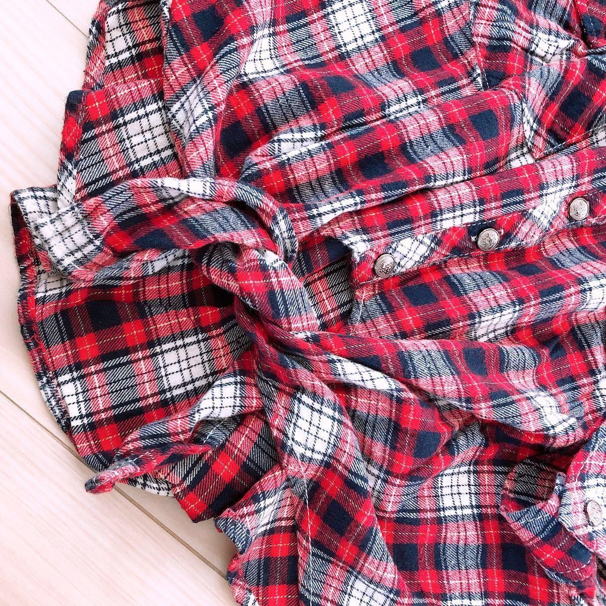 長袖シャツ チェック柄 チェックシャツ 赤 前しばり スタッズ 秋
