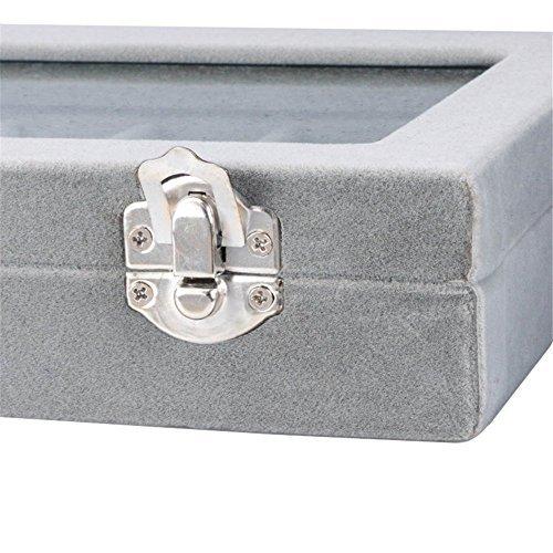 グレイ SPIEA 24区画 アクセサリーボックス ベルベット調 ジュエリーケース 耳飾り ピアス 指輪 ディスプレイ収納ケース_画像6