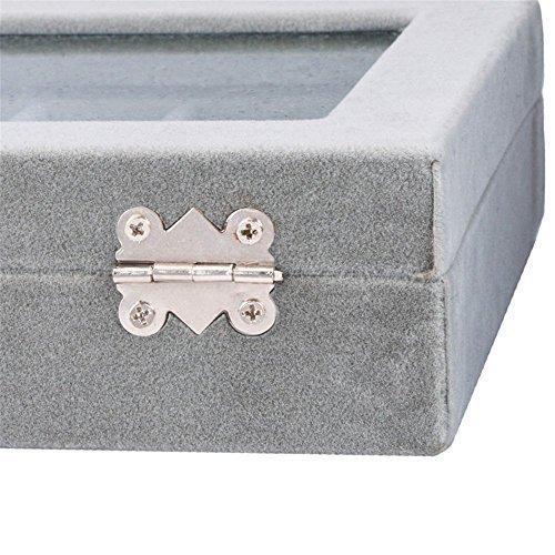 グレイ SPIEA 24区画 アクセサリーボックス ベルベット調 ジュエリーケース 耳飾り ピアス 指輪 ディスプレイ収納ケース_画像7