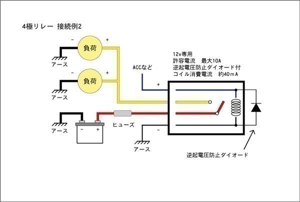 ■汎用 コンパクト4極リレー DC12v / 10A MAX120W 【逆起電圧保護付き】L4P-relay 電装品の切り替えに!6_画像3