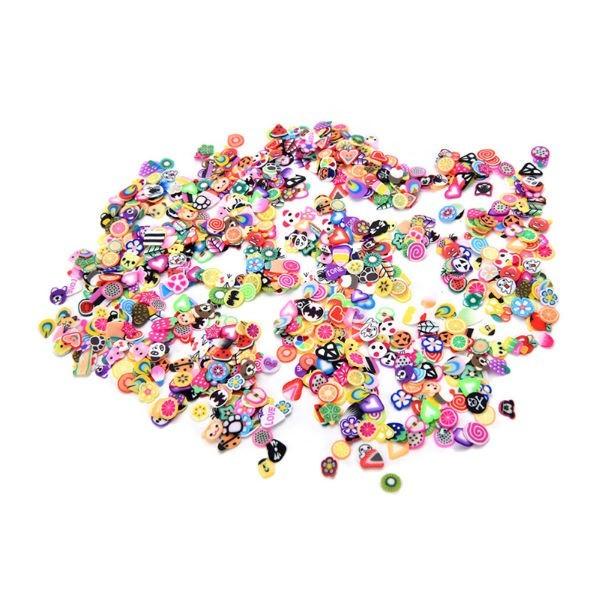 s616 ネイルアートステッカー 1000 ピース ランダム DIY 3Dフルーツ花フェザーデザイン小型スライスポリマークレイ おもちゃ ステッカ_イメージ画像