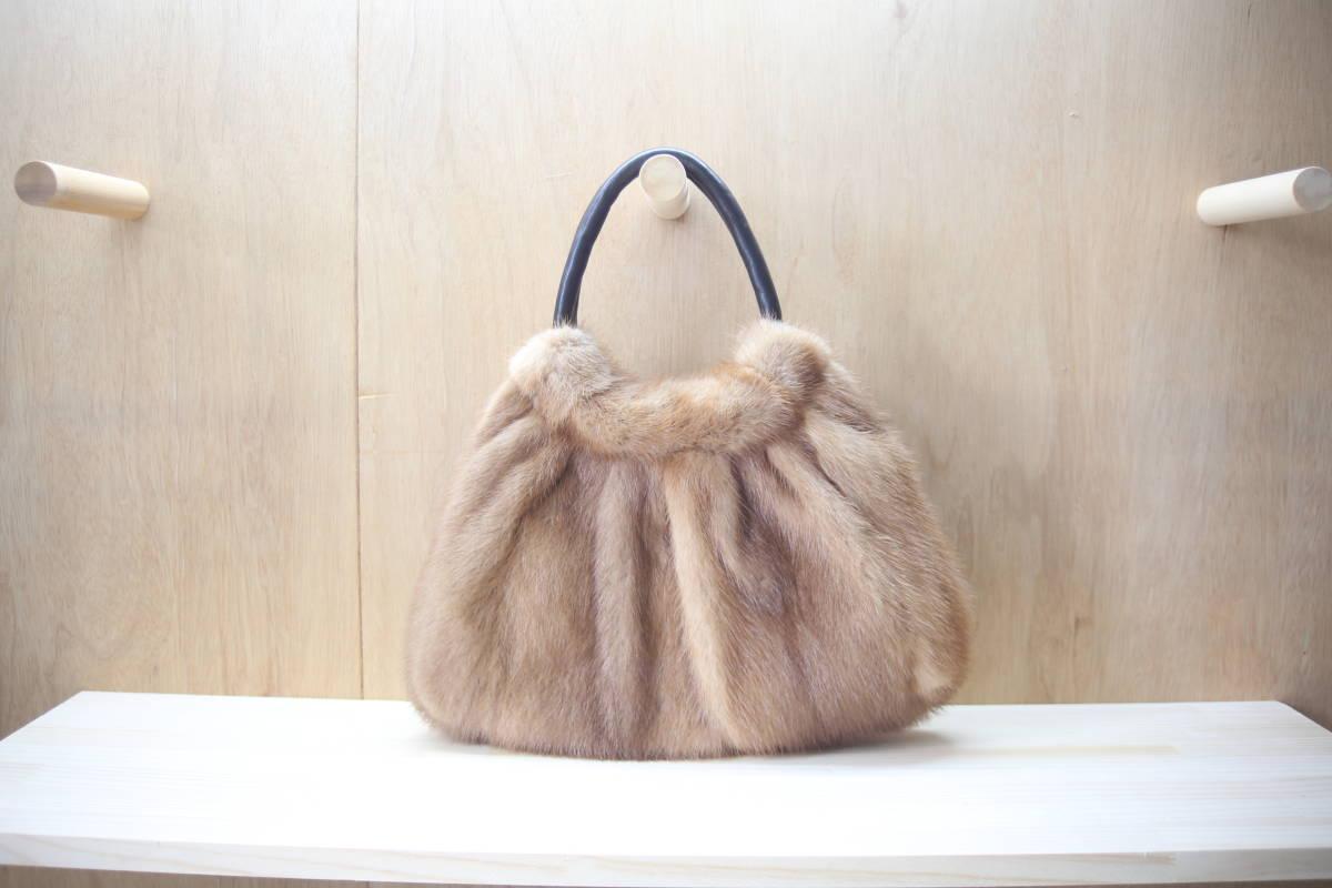 【Mink】リアルファーバッグリボン付*パステルミンクダークミンク(ハンドメイド)トートバッグ/メイドインジャパン/日本製/毛皮のバッグ