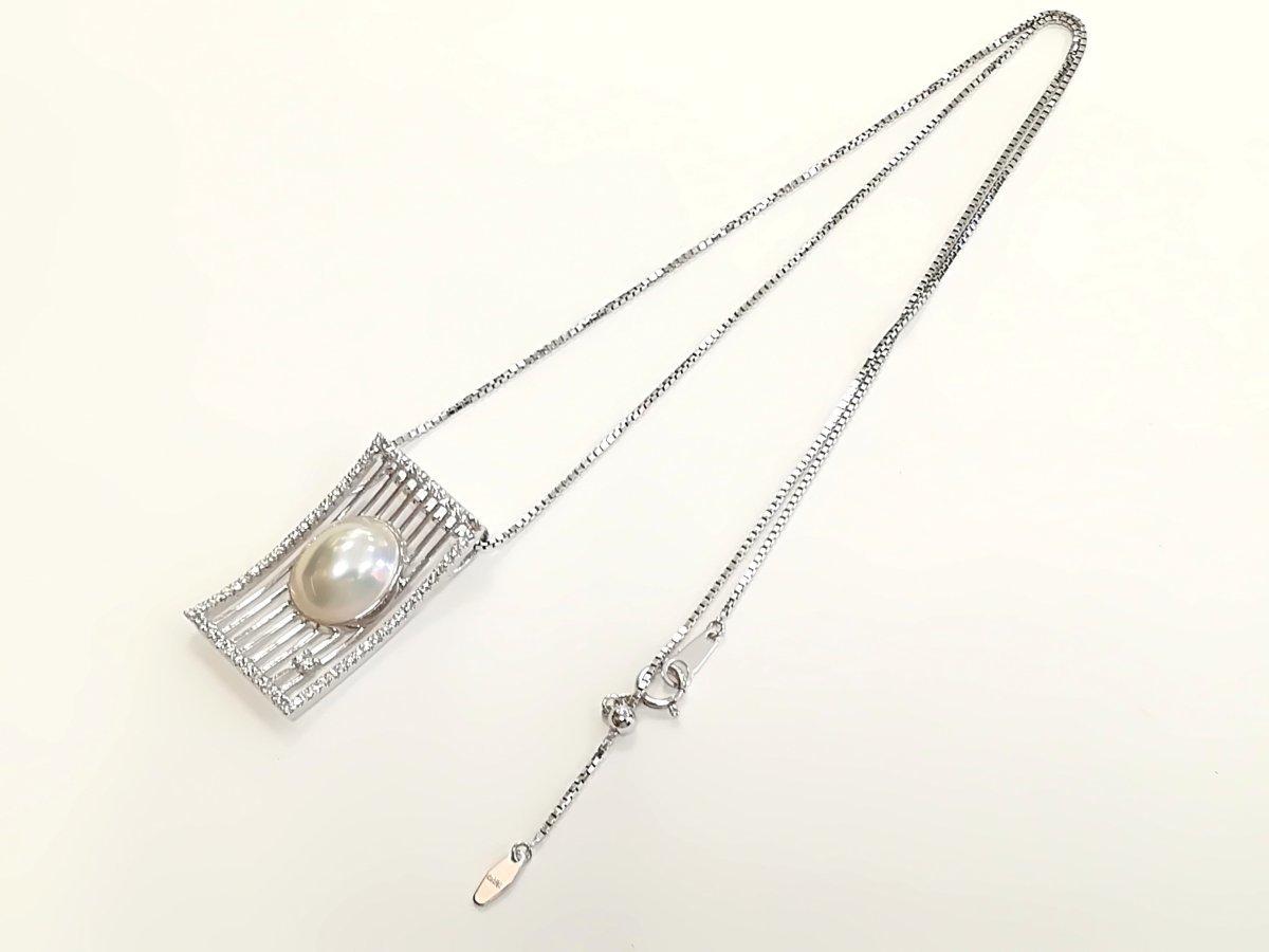 質屋出品【TASAKI】K18WG マベパール ダイヤ デザイン ネックレス 中古_画像2