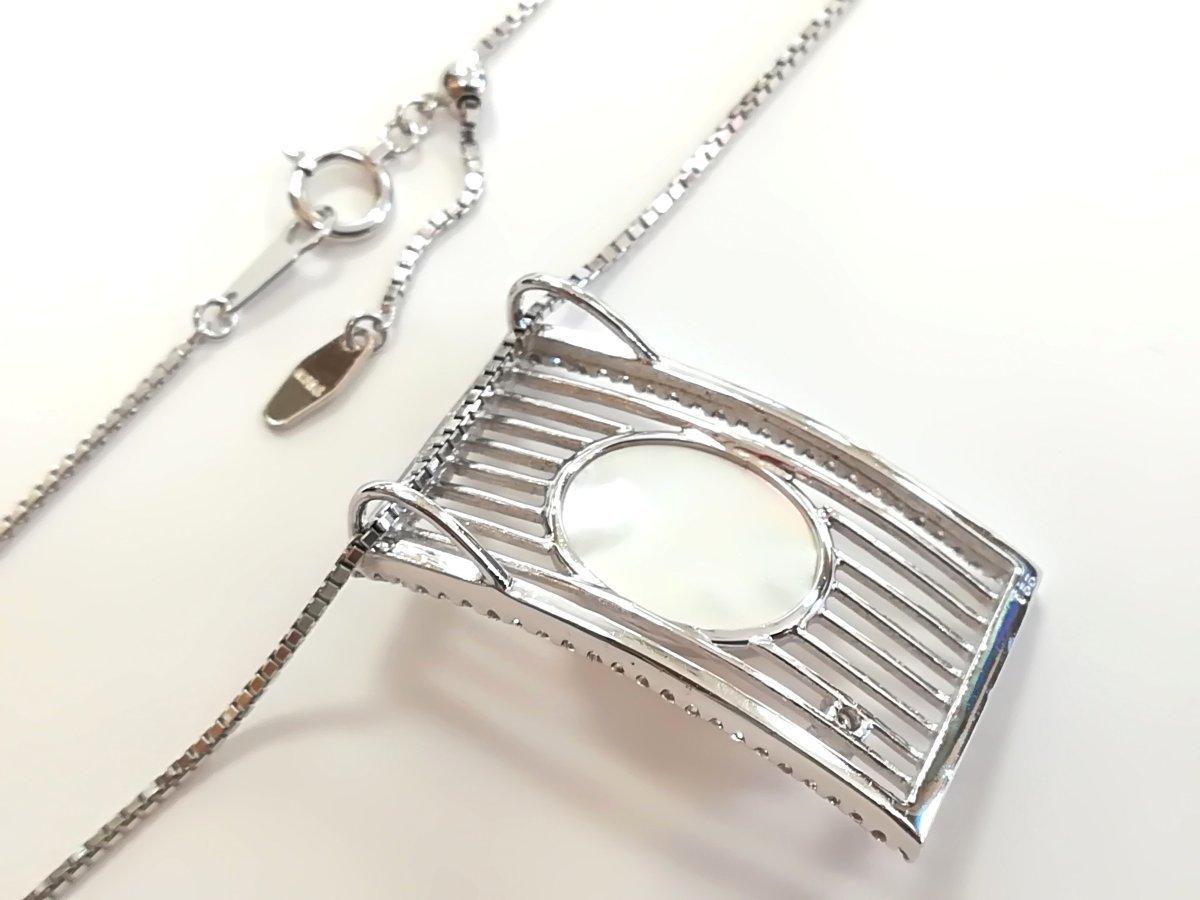 質屋出品【TASAKI】K18WG マベパール ダイヤ デザイン ネックレス 中古_画像5