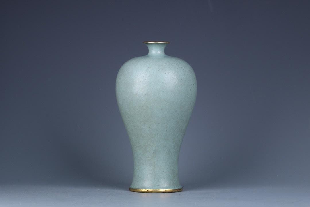中国陶磁器 宋時代 汝窯包金梅瓶 染付 中国古玩 陶磁器宋 明 清 高麗 茶道具 陶瓷器 陶磁器