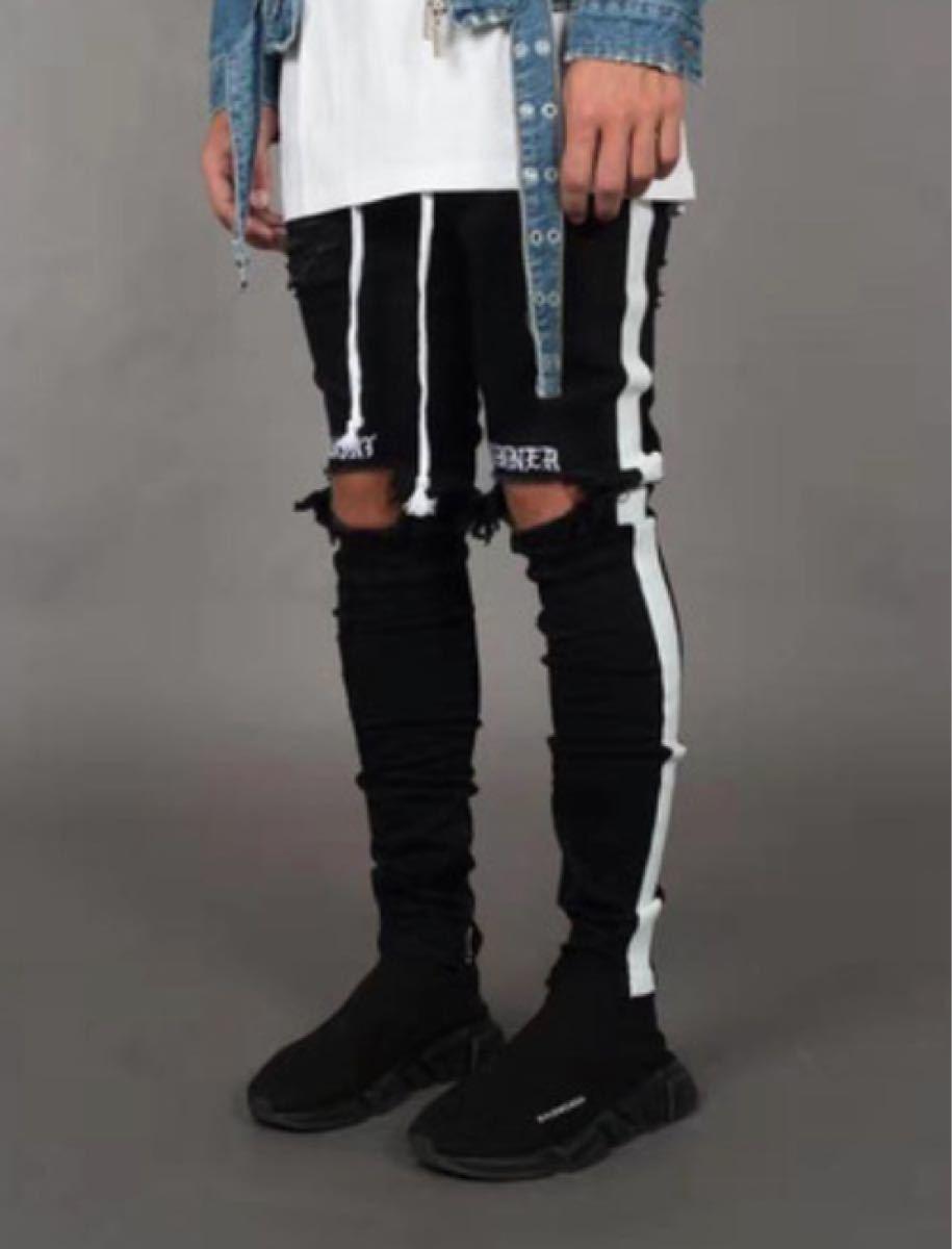 ブラック&ホワイト  クラッシュデニム メンズ 新品 ダメージデニム  ジーンズ