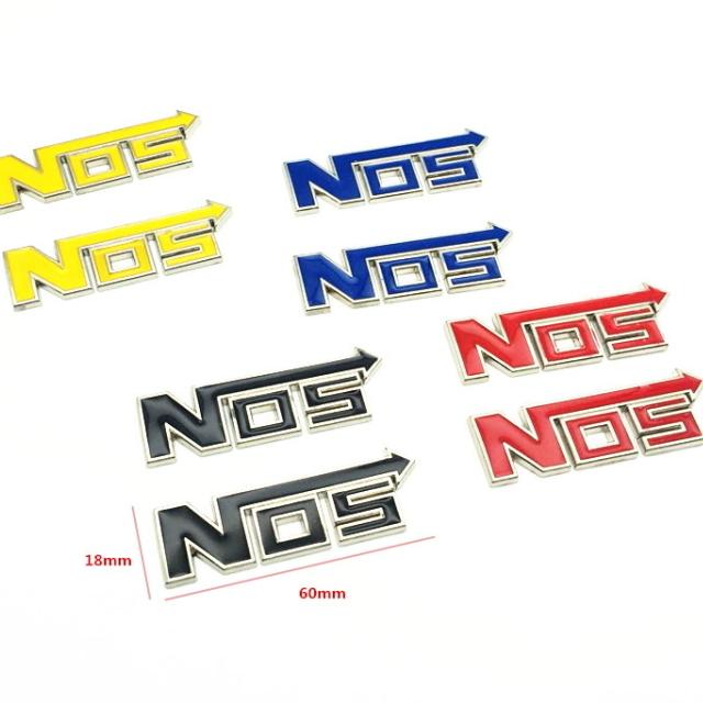 NOSエンブレムステッカー ブルー 3D立体アルミエンブレム ワイルドスピードニトロエンブレム 3Dメタル ステッカー カスタムパーツ 2個SET_画像3