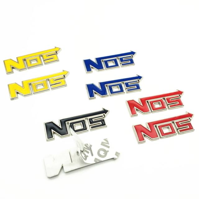 NOSエンブレムステッカー ブルー 3D立体アルミエンブレム ワイルドスピードニトロエンブレム 3Dメタル ステッカー カスタムパーツ 2個SET_画像2