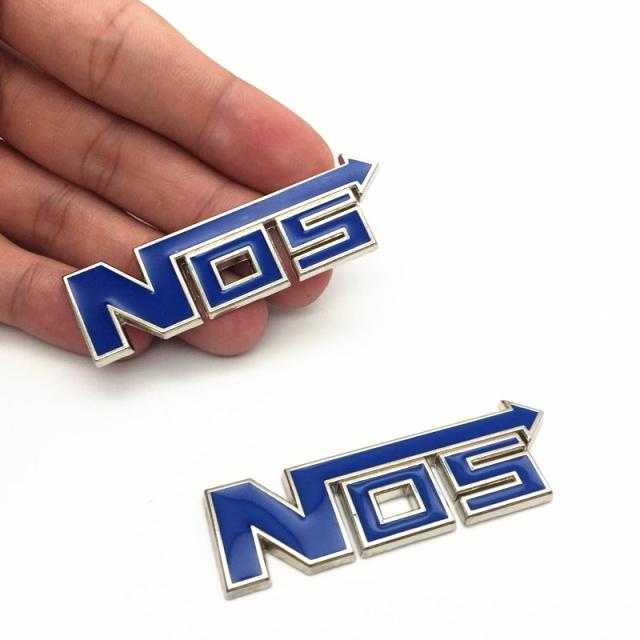 NOSエンブレムステッカー ブルー 3D立体アルミエンブレム ワイルドスピードニトロエンブレム 3Dメタル ステッカー カスタムパーツ 2個SET_画像1