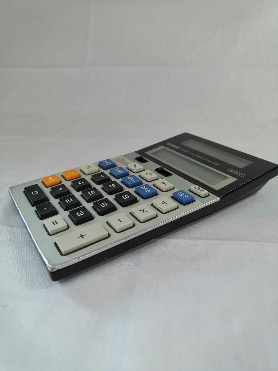 Casio JS-10 高性能 多機能 本格事務電卓 当時12,000円で購入した古いソーラー電卓 完動品 送料無料 計算桁数 10桁