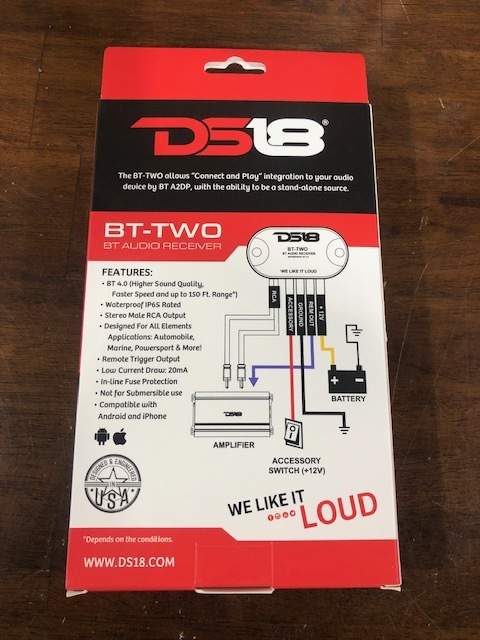 DS18 BT-2 Bluetooth 4.0 ブルートゥースレシーバー 防水仕様 スマートフォン対応_画像2