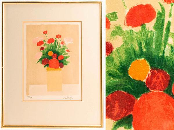 【流】ベルナール・カトラン リトグラフ 「小さな赤い花束」 JQ974
