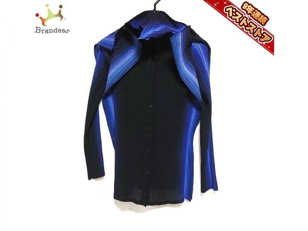 イッセイミヤケ ISSEYMIYAKE 長袖シャツブラウス サイズ2 M - 黒×ネイビー×マルチ レディース プリーツ トップス