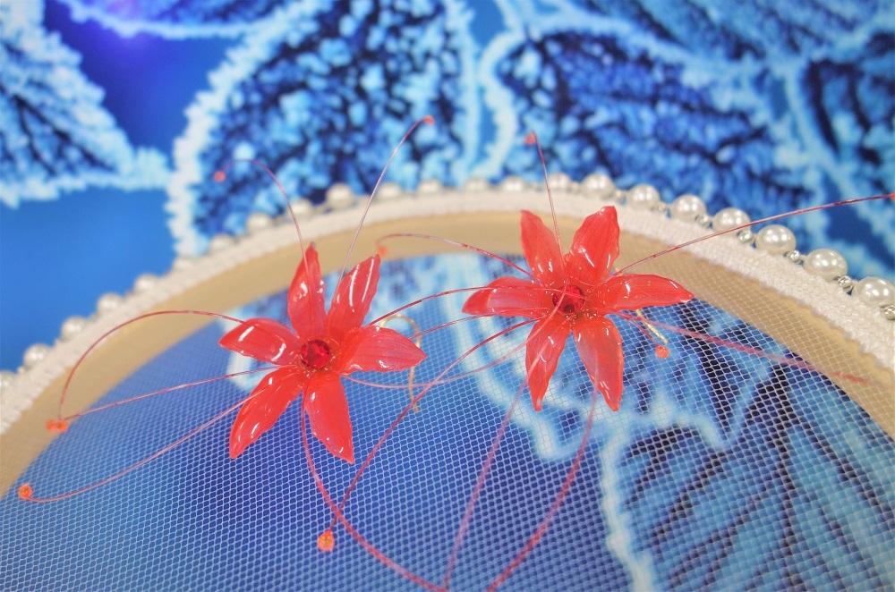 【赤い花ピアス】送料無料【Youtube 森を作り林】ハンドメイドチャンネル/ハンドメイドアクセサリー_画像1