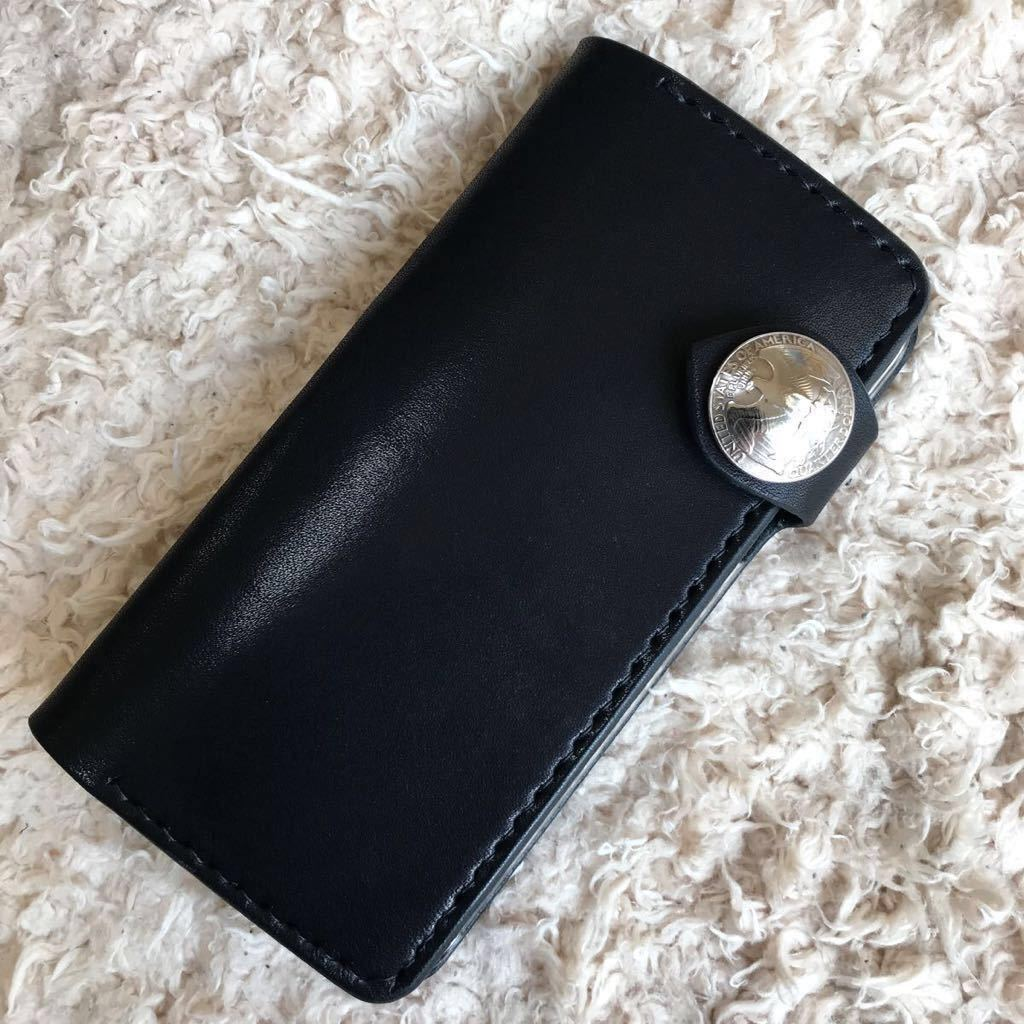 ハンドメイド 総手縫い!iPhoneX XSケース 本革 ブラック 栃木サドルレザー_画像1