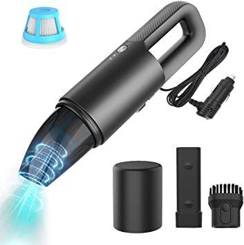 ブラック MANLI 多機能 車用掃除機 コードレス ハンディクリーナー 充電式 伸縮吸い口付き 乾湿両用 軽量 超強吸引力 L_画像1