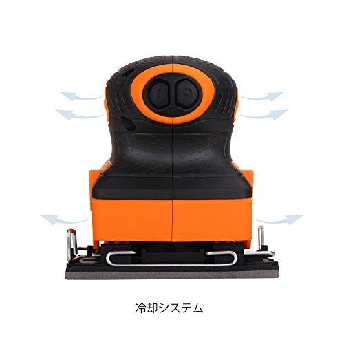 黒+オレンジ 21.9*12.6*11.4cm TACKLIFE サンダー 240W 15000RPM オービタルサンダー 低振_画像3