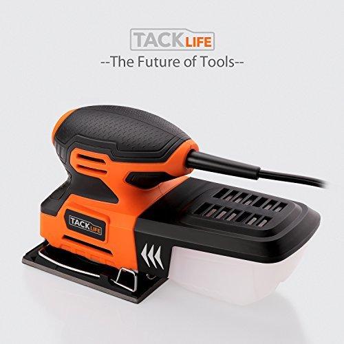 黒+オレンジ 21.9*12.6*11.4cm TACKLIFE サンダー 240W 15000RPM オービタルサンダー 低振_画像9